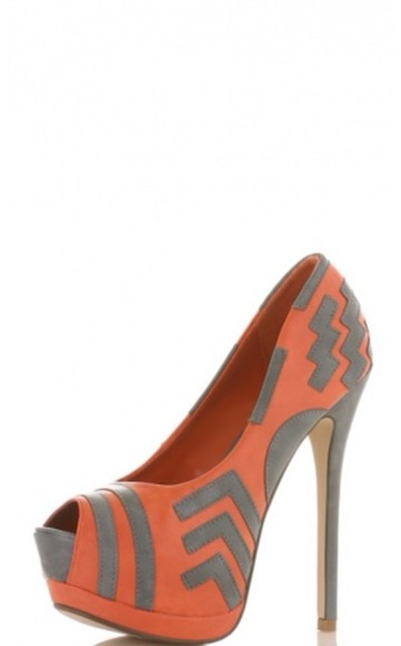 shoes high heels coral grey triangle geometric