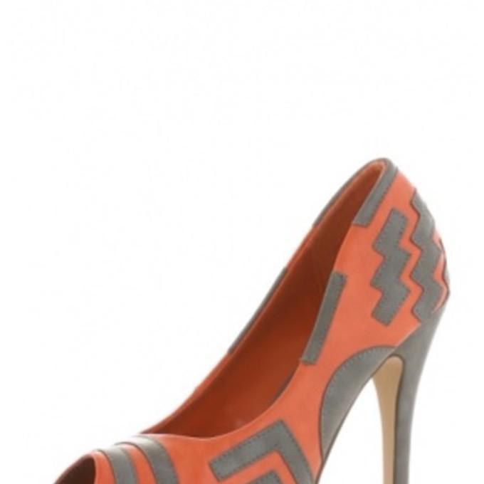shoes grey triangle geometric high heels coral