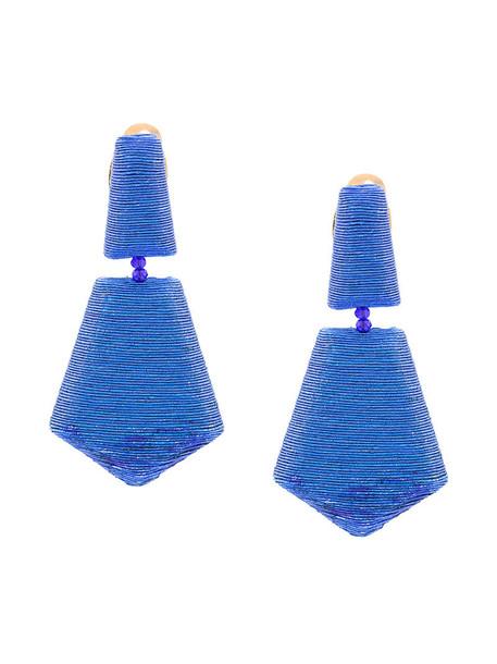 oscar de la renta metallic women geometric plastic earrings blue silk jewels