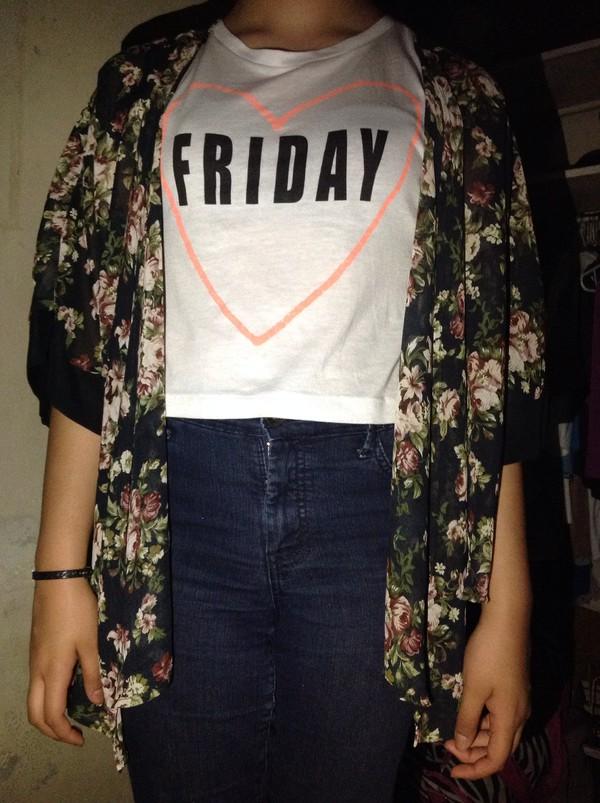 t-shirt kimono cardigan jeans