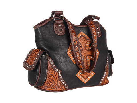 M&F Western Tooled Cross Shoulder Bag Black/Tan - Zappos.com Free Shipping BOTH Ways