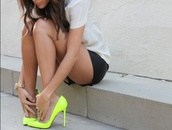 shoes,high heels,heels,neon,neon yellow,yellow,stilettos