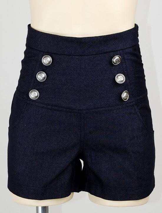 Sailor nautical anchor denim high waisted shorts rockabilly hotpants m