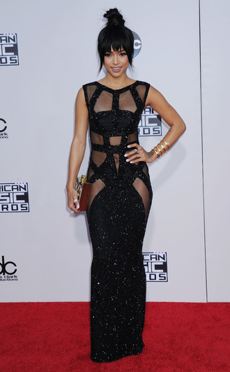 dress gown prom dress karrueche all black everything black dress see through dress red carpet dress amas 2015 sparkly dress