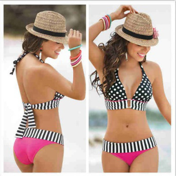 swimwear dotted swimsuit swimwear printed bikini bottoms swimwear pink swimwear halter top bikini style black bikini hat