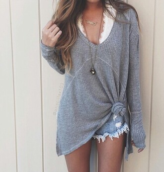 sweater oversized sweater grey knit