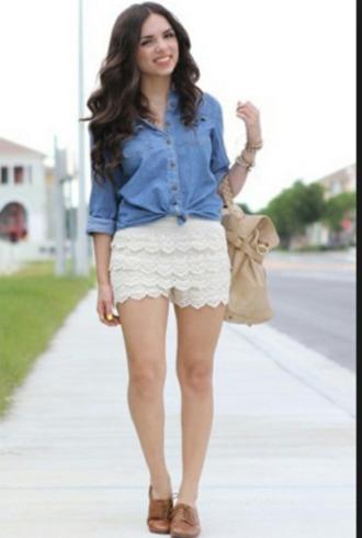 short shoes dentelle denim vintage blouse jewels bijoux girly bag chemise sac swag