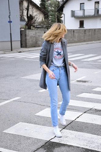 katarina vidic katiquette. street style blogger shirt coat jeans shoes jewels make-up grey coat mom jeans sneakers converse grey t-shirt tumblr denim light blue jeans white sneakers high top sneakers high top converse white converse t-shirt