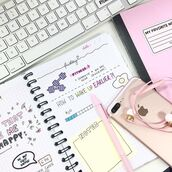 home accessory,yeah bunny,pink,pastel,stickers,book,notebook,keyboard,apple,iphone,fitness,ok but first coffe