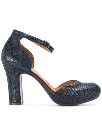 embroidered women pumps platform pumps leather blue shoes