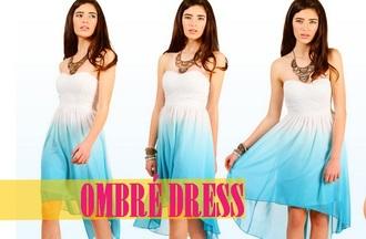 dress blue white white dress summer dress blue dress short dress ombre ombre dress blue ombre dress