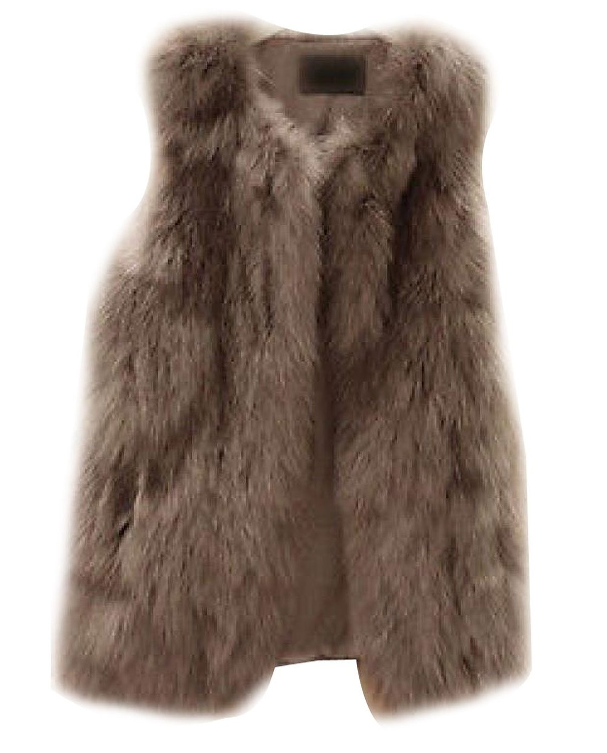 Ideal4dress women faux fur shaggy vest gilet sleeveless coat outerwear waistcoat at amazon women's clothing store: