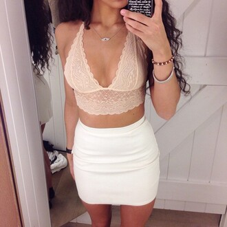 top bralette lace bralette pink bra white skirt skirt white mini skirt mini skirt body goals pretty gorgeous cute stylish style trendy fashion fashionista blogger on point clothing outfit idea fashion inspo