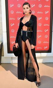 swimwear,bikini top,bikini bottoms,olivia culpo,black,all black everything,belt,cover up,earrings,jewels