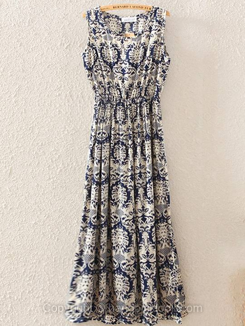 Blue Square Sleeveless Floral Print Pleated Long Dress - HandpickLook.com