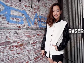 jacket baseball jacket letterman jacket pleather jacket leather pleather white black varsity jacket jenn im clothesencounters 2020ave