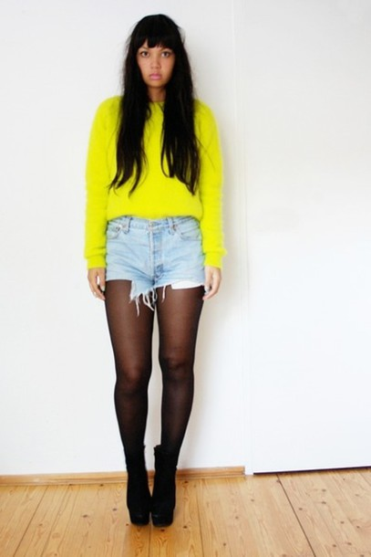sweater neon yellow vintage High waisted shorts sheer stockings