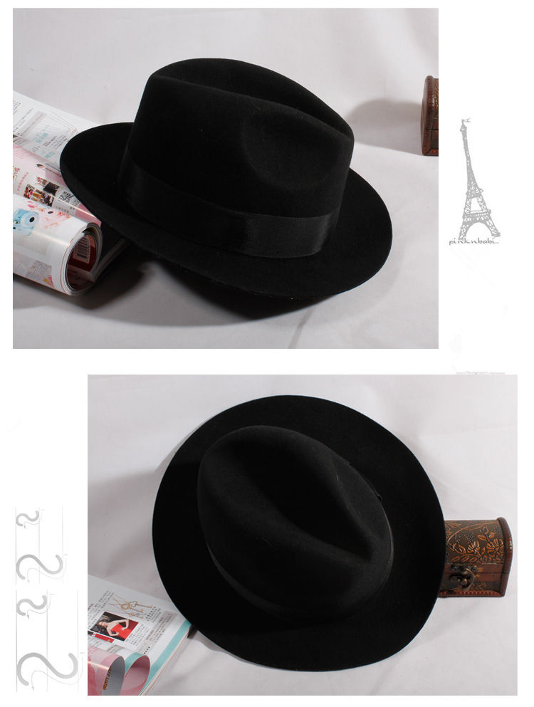 New Men Women Fedora Wool Felt Hats Floppy Derby Trilby Cap Headwear Black | eBay