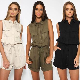 romper khaki khaki playsuit green playsuit khaki romper tie up waist green romper beige romper beige beige playsuit black romper peppermayo