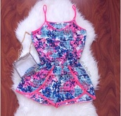 romper,blue,colorful,one piece,pink,bright