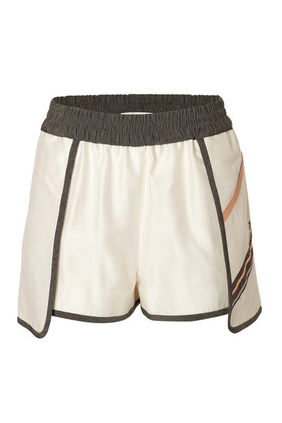 Jonathan Simkhai Petal Sport Shorts with Leather Trim  in beige / beige