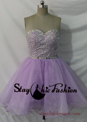 Short Lavender Sparkly Beaded Top Strapless Lace Up Back Homecoming Dress [SC-567] - $149.00 : Prom Dresses On Sale, Semi-formal Dresses Online|StaychicDresses