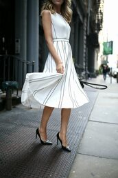 dress,tumblr,midi dress,white dress,stripes,striped dress,sleeveless,sleeveless dress,pumps,pointed toe pumps,high heel pumps,shoes