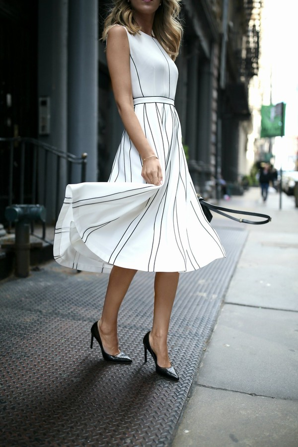 d1ccebe30984 dress tumblr midi dress white dress stripes striped dress sleeveless  sleeveless dress pumps pointed toe pumps.