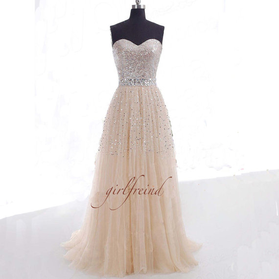 Gorgeous sweetheart sequins tulle prom dress / by girlsproms