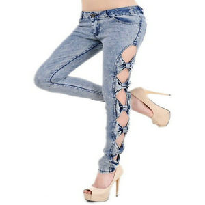 Sexy Woman Side Bow Cutout Ripped Denim Jeans Jeggings Trousers Pants
