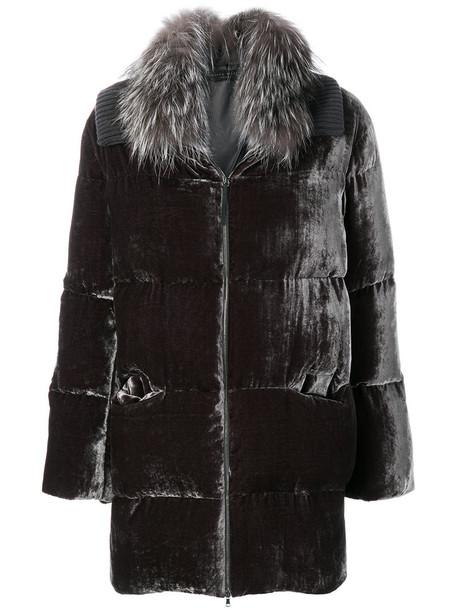 coat fur fox women silk grey