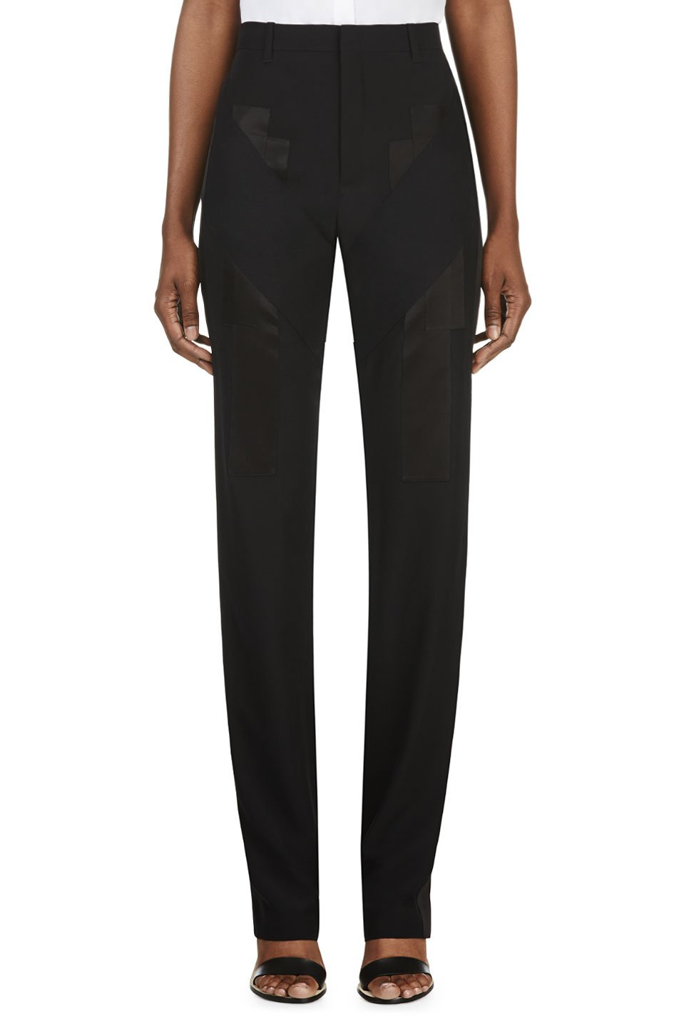 givenchy black satin appliqu trousers