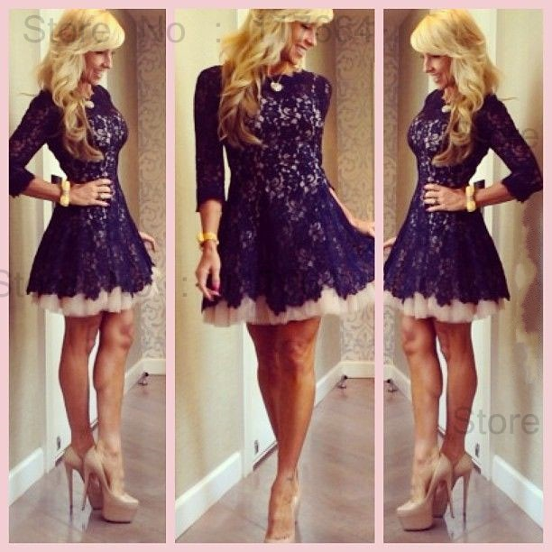Wholesale New Fashion Crew Neck Long Sleeve Short Lace Cocktail Dress Girls Party Dresses Black White Or Custom Made PM7490-in Cocktail Dresses from Apparel & Accessories on Aliexpress.com