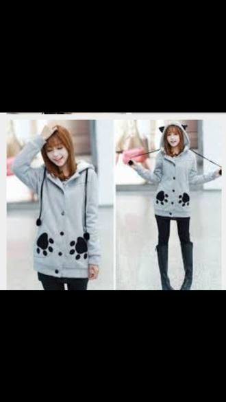 sweater jacket hoodie grey korean fashion boho kawaii girly boho cute