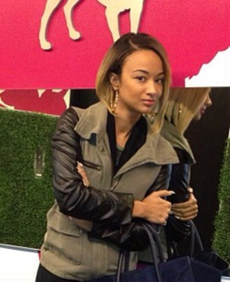 jacket draya michele mtv blondie bob army green jacket olive green with leather sleeves