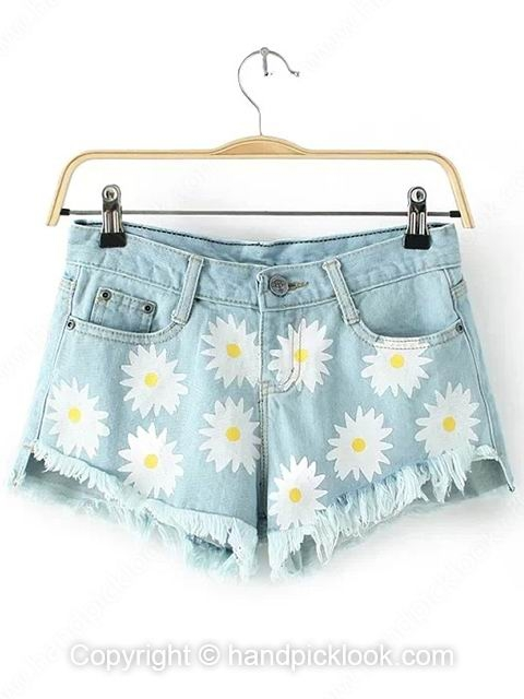 Blue Floral Print Button Fly Shorts - HandpickLook.com