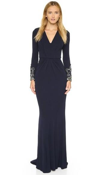 gown v neck navy dress