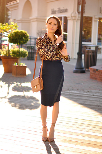 hapa time blogger blouse pencil skirt office outfits leopard print nude high heels skirt shoes