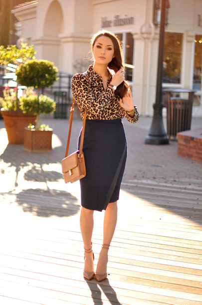 hapa time blogger blouse pencil skirt office outfits leopard print skirt shoes