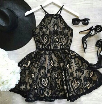 dress black lace print halloween cute classy design embroidered sunglasses shoes hat