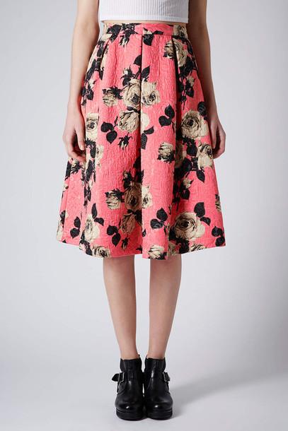 Skirt rose texture midi skirt midi skirt floral pink wheretoget mightylinksfo