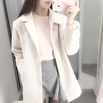sweater jacket white pink grey skirt grey skater skirt pink sweater pastel pink pastel grunge kawaii coat urban pink winter outfits fall sweater knitted sweater fall outfits