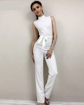 jumpsuit,stylish,outfit idea,outfit,tumblr outfit,white jumpsuit,white,white outfit,white outfit idea,lace,white lace,white pants,bow detail,jumpsuit with bow,high neck,high neck jumpsuit,stylish jumpsuit,trendy,trendy jumpsuits,zefinka,fashion blogger style,womens clothing,on trend,sexy jumpsuit,white sexy jumpsuit