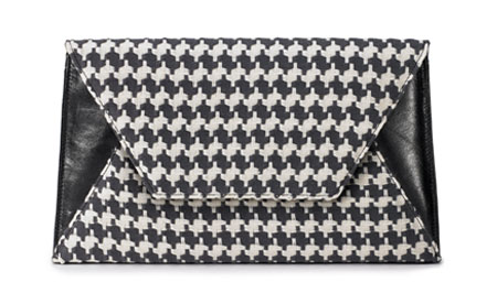 Large Sona Clutch - Black and Cream Houndstooth Fabric w/Black Cow