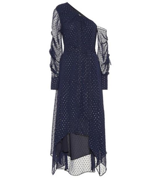 Jonathan Simkhai Asymmetric chiffon dress in blue