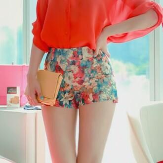shorts floral colorful bag blouse flowered shorts high waisted shorts pants pink blue red orange naranja 3/4