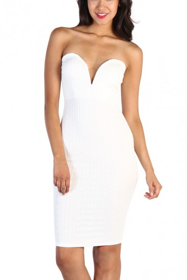 LoveMelrose.com From Harry & Molly | Plunging Neckline Strapless Dress - White