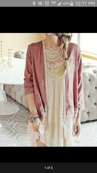 dress pink cream dress lace dress pink jacket lace