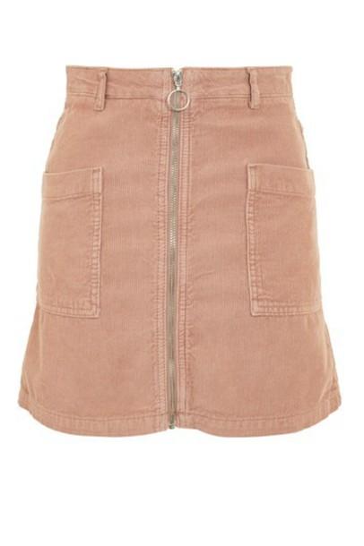Topshop skirt mini skirt denim mini zip pink