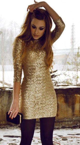 dress sequins gold new year's eve christmas long sleeves sequin dress gold sequins dress new years eve dress christmas dresses cocktail dress